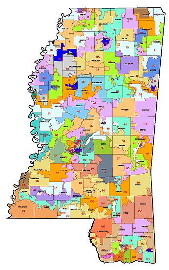 Mississippi House Of Representative Map As Passed On 3 20 02